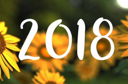 photograph of sunflowers and the year 2018 on top
