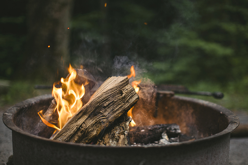 firewood burning in a campfire